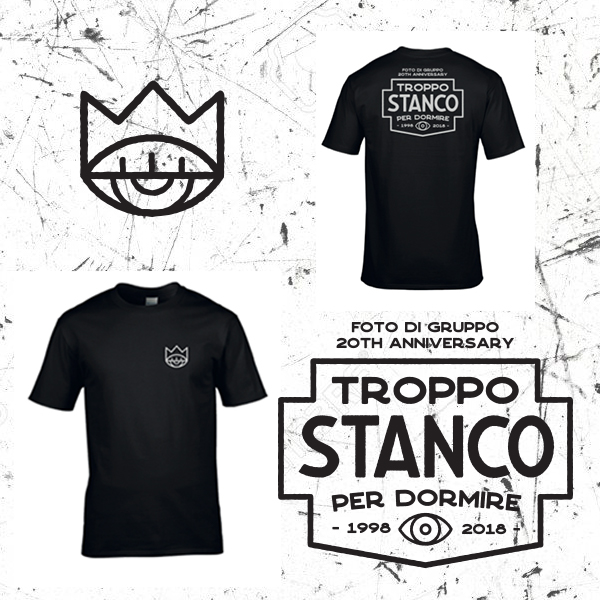 "Bassi Maestro ""FOTO DI GRUPPO limited 20th anniversary"" – White on Black/Retro+Front (T-Shirt)"