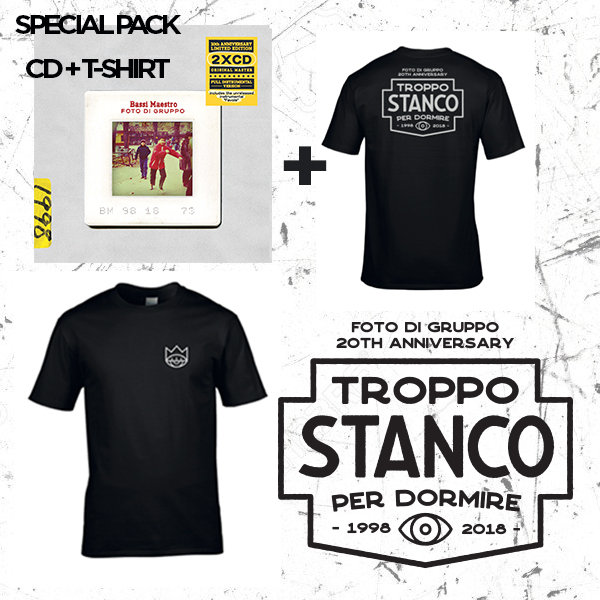 "Bassi Maestro ""FOTO DI GRUPPO limited 20th anniversary"" Pack – 2xGatefold CD + White on Black/Retro+Front (T-Shirt)"